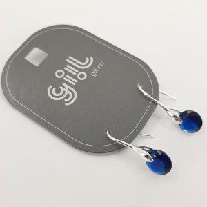 Náušnice s tmavě modrým broušeným kamínkem GIIL