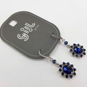 Náušnice s tmavě modrými kamínky do tvaru kytičky GIIL