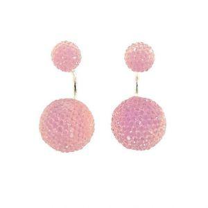 Náušnice se světle růžovými kamínkovými kuličkami