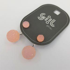Náušnice se světle růžovými kamínkovými kuličkami GIIL