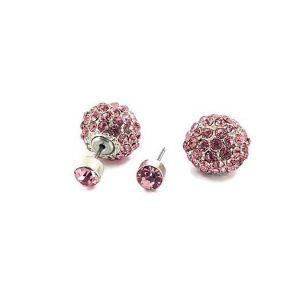 Oboustrané náušnice s růžovými kamínky