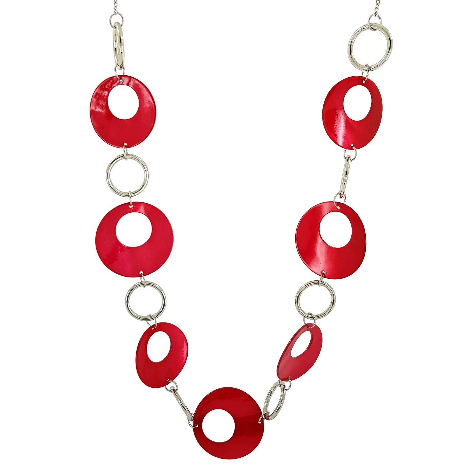 Retro náhrdelník s červenými plackami a stříbrnými kroužky GIIL