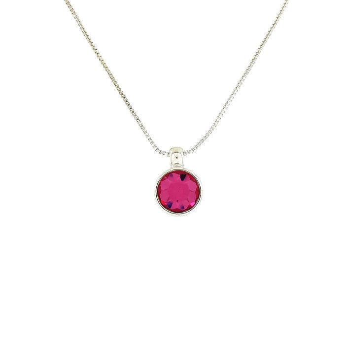 Stříbrný náhrdelník s růžovým kamínkem GIIL