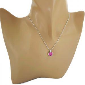 Stříbrný náhrdelník s růžovým kamínkem