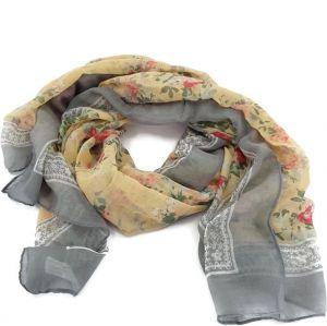 Šátek s růžičkami a světle šedivým ohraničením GIIL