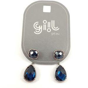 Stříbrné náušnice 2 v 1 s modrou slzou GIIL