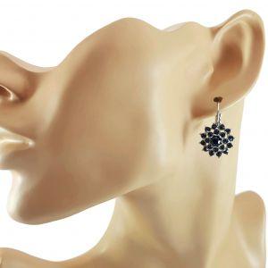 Stříbrné náušnice kytičky s modrými kamínky GIIL