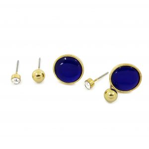Tři páry naušnic ve zlaté barvě s nádechem moře
