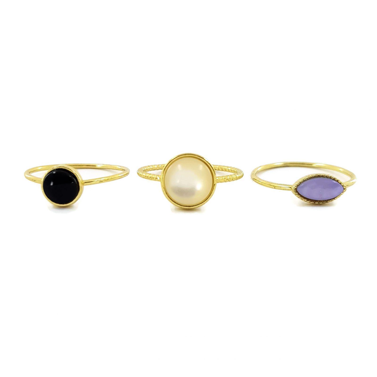 Tři prstýnky s kamínky z umělé perleti GIIL