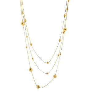 Trojitý zlatý náhrdelník se zlatými perličkami