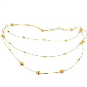 Trojitý zlatý náhrdelník se zlatými perličkami GIIL