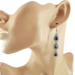 Visací náušnice modré slzy s čirými kamínky GIIL