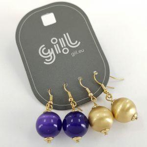 Visací náušnice s modrými a zlatými kuličkami GIIL