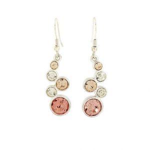 Visací náušnice s růžovými a bílými kamínky