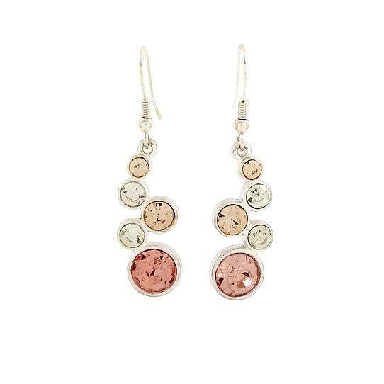 Visací náušnice s růžovými a bílými kamínky GIIL