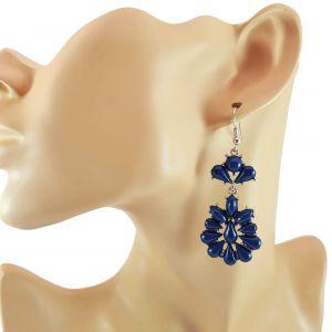 Visací náušnice stylu rokoko s modrými kameny GIIL