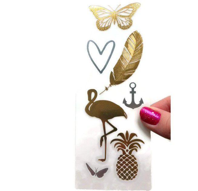 Zlatavé tetovačky: Motýl, plameňák GIIL