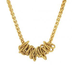 Zlatavý masivní náhrdelník z uzlů