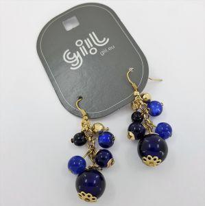 Zlaté visací náušnice s modrými kuličkami GIIL