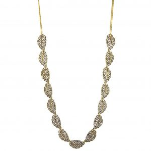 Zlatý dlouhý náhrdelník se starozlatými lístečky