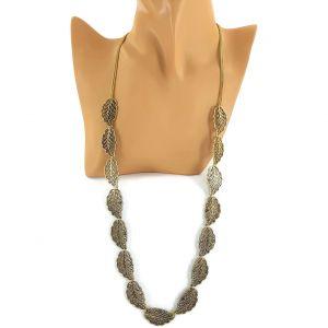 Zlatý dlouhý náhrdelník se starozlatými lístečky GIIL