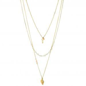 Zlatý náhrdelník jemné řetízky s přívěšky