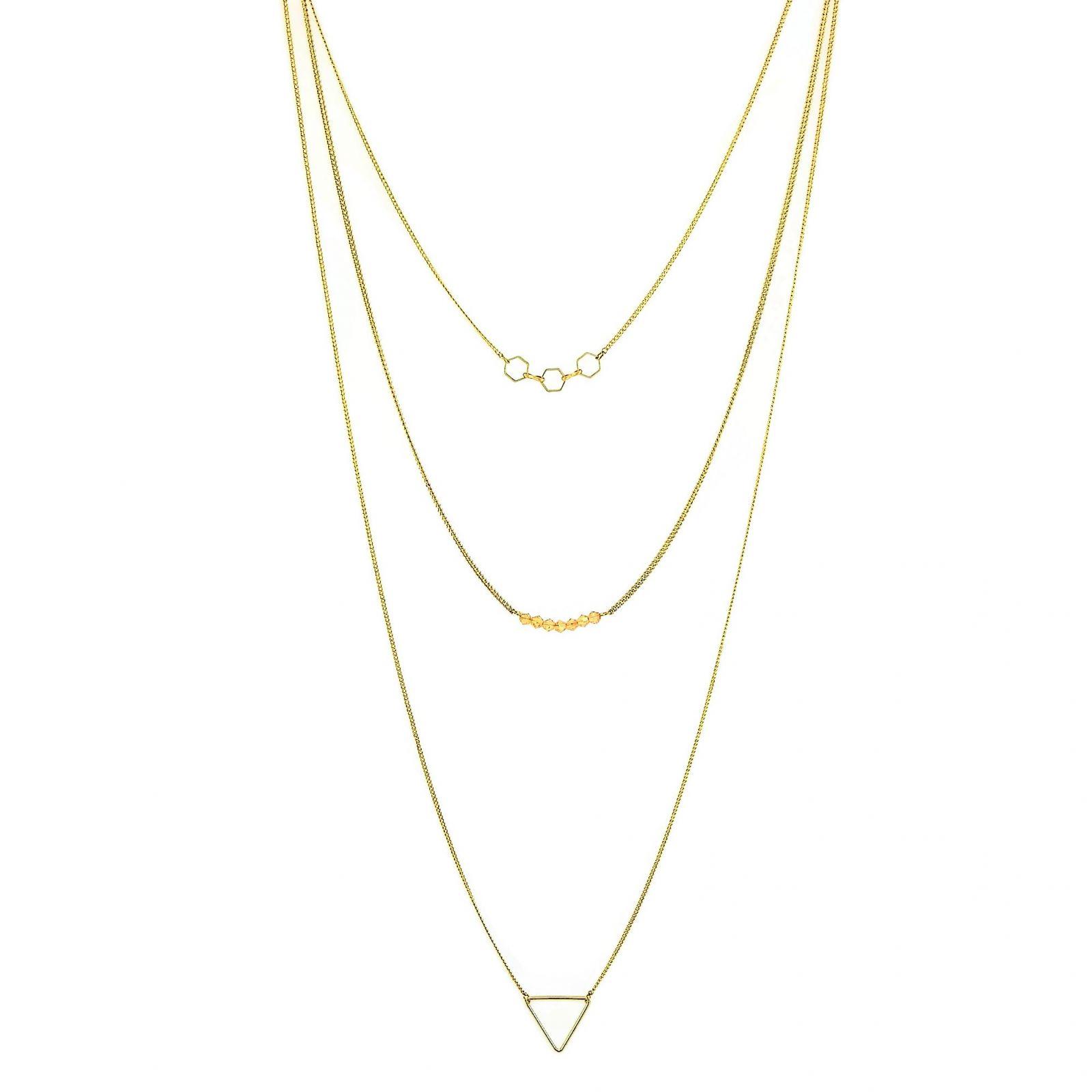 Zlatý náhrdelník s ozdobami různých geometrických tvarů