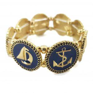 Zlatý náramek s kotvou a plachetnicí