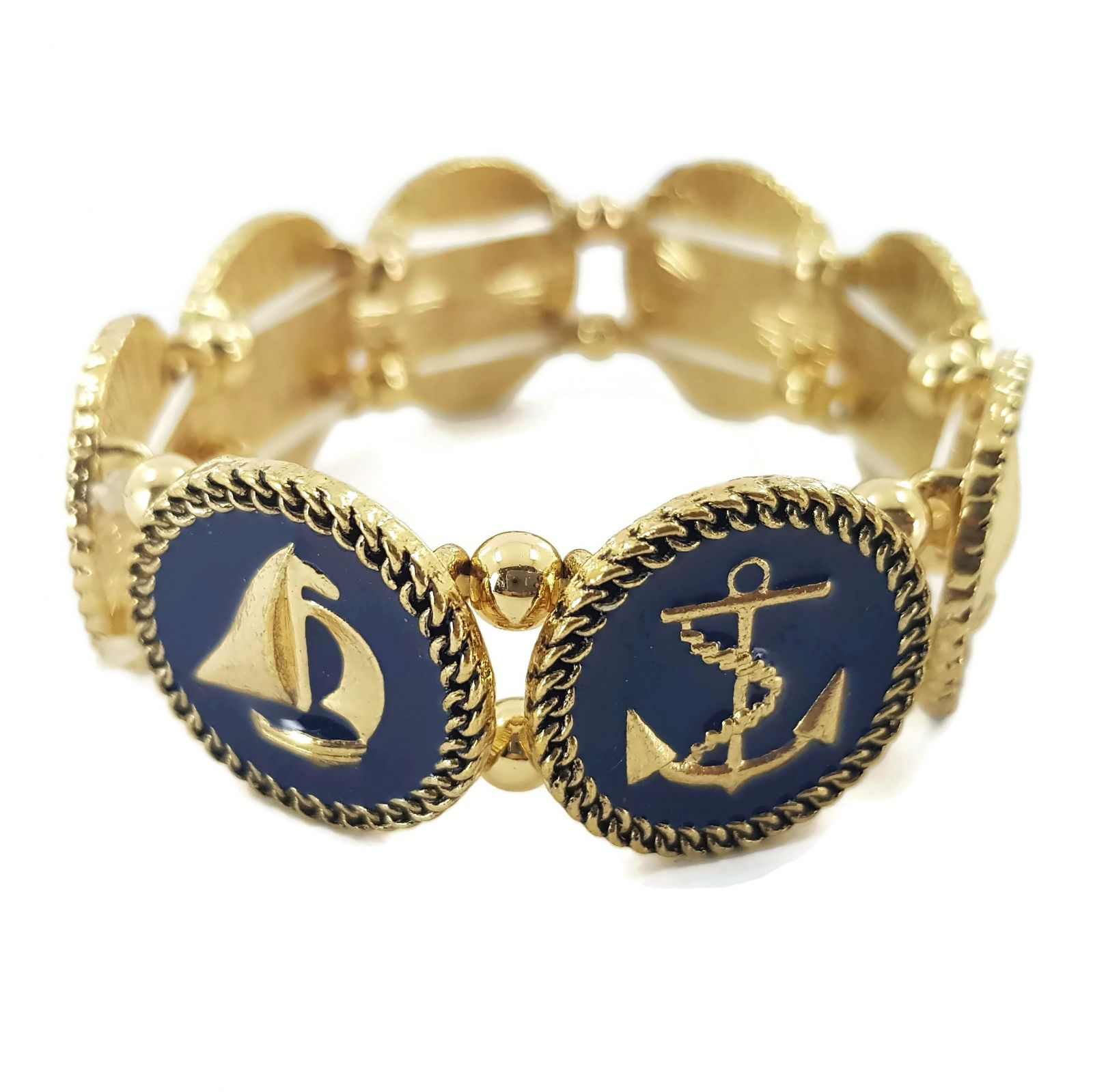 Zlatý náramek s kotvou a plachetnicí GIIL