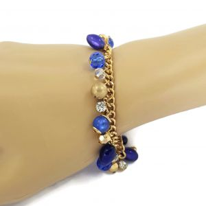 Zlatý náramek s modrými a bílými kamínky GIIL