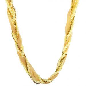 Zlatý perlový náhrdelník protkaný látkou