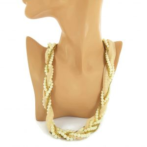 Zlatý perlový náhrdelník protkaný látkou GIIL