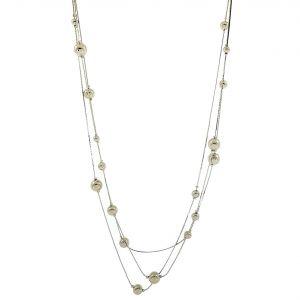 Kovový dlouhý lesklý náhrdelník s perličkami