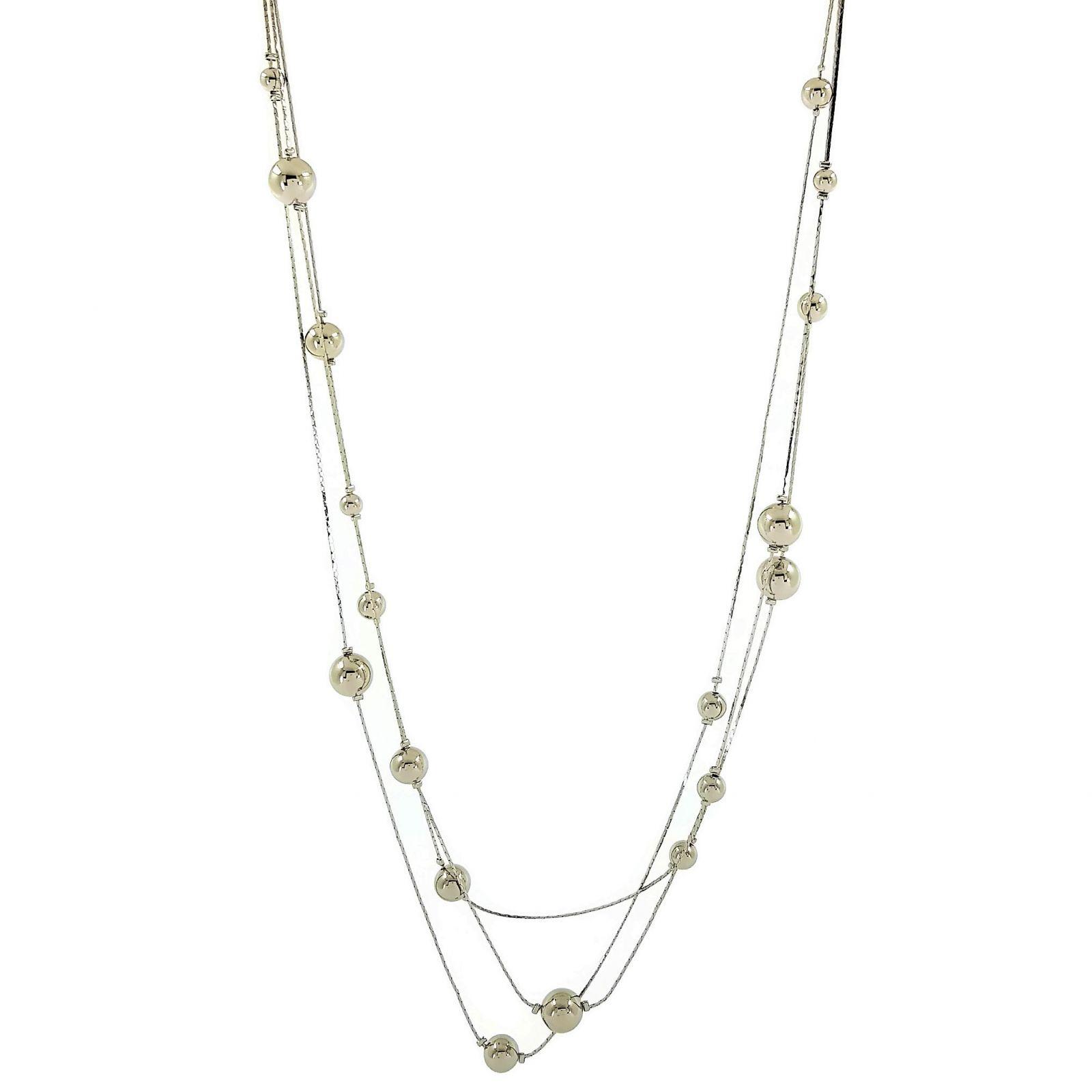Stříbrný dlouhý náhrdelník zdobený kuličkami GIIL