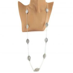 Stříbrný dlouhý náhrdelník s lístečky GIIL