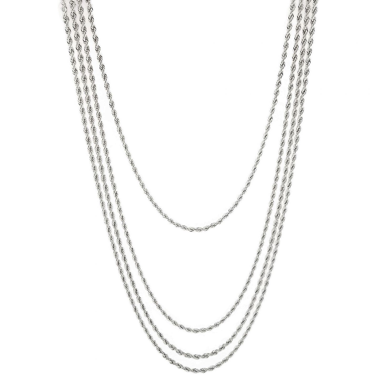 Stříbrný náhrdelník čtyři pletené řetízky GIIL
