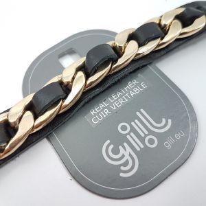 Kožený náramek se zlatým řetězem v černá barvě