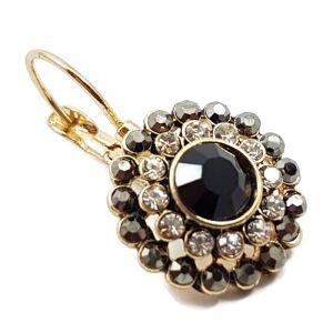Luxusní zlaté náušnice s černými kamínky