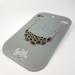 Masivní náhrdelník s černými kamínky GIIL