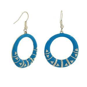 Modré visací kruhové náušnice