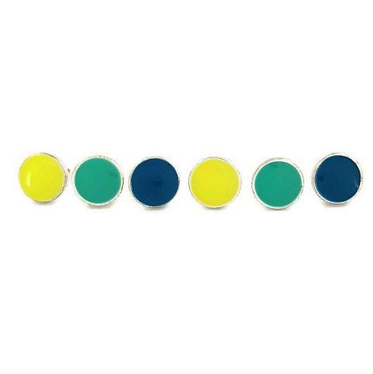 Modré, zelené a žluté náušnice GIIL