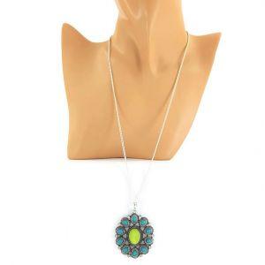 Modrozelený náhrdelník s malými kamínky