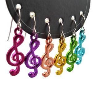 Náušnice Barevné houslové klíče