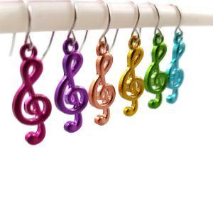 Náušnice Barevné houslové klíče GIIL