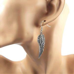 Náušnice křídla stříbrná a černá