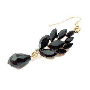 Náušnice s černým kamínkovým listem