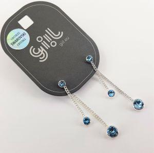 Řetízkové náušnice Swarovski 2 v 1 s nebesky modrými křišťály GIIL