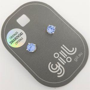 Stříbrné peckové náušnice Swarovski se světle modrými nebeskými kamínky GIIL