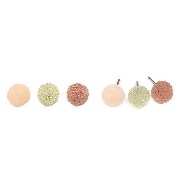 Náušnice s růžovými kamínkovými kuličkami GIIL