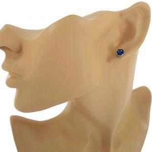 Peckové náušnice Swarovski s tmavě modrým křišťálem GIIL